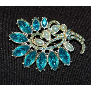 Pearl and Blue Gem Brooch