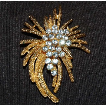 Starburst Crystal Gold Tone Brooch