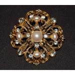 Napier Vintage Gold and Pearl Brooch