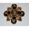 Vintage St. John Black and Gold Maltese Cross Brooch