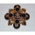 Vintage St. John Black and Gold Maltese Cross Brooch