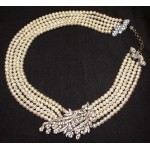 Vintage Siman Tu Five Strand Pearl Necklace